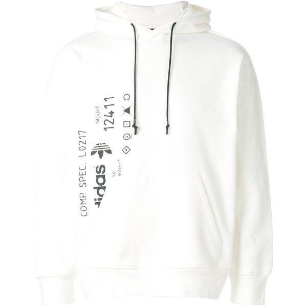 Adidas Originals By Alexander Wang graphic print hoodie ($192) ❤ liked on Polyvore featuring tops, hoodies, white, unisex hoodies, long sleeve hooded sweatshirt, white hoodies, cotton hoodie and white hoodie