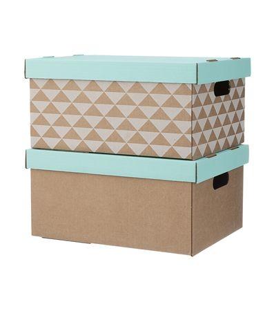 Set van 2 opbergdozen van karton. De deksel van de dozen is in de kleur mint. 1 doos heeft een grafisch dessin met wit, de andere is uni karton. Zelf makkelijk in elkaar te vouwen.