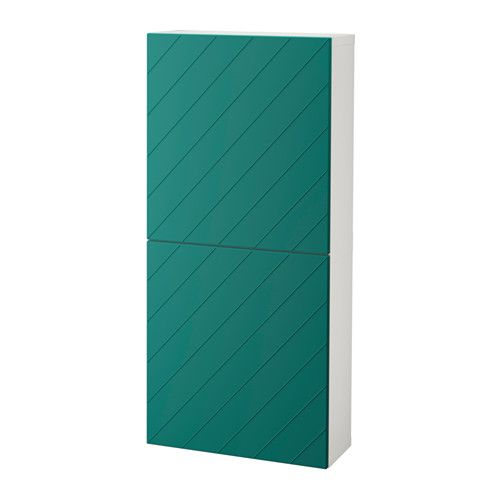 BESTÅ Wall cabinet with 2 doors, white, Hallstavik blue-green white/Hallstavik blue-green 60x20x128 cm -