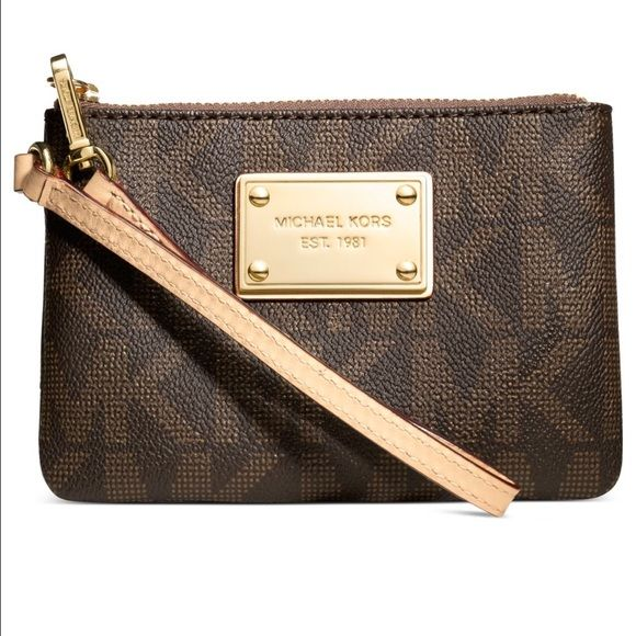 Michael Kors Jet Set Small Wristlet Brand new with tag! Super cute brown color with gold detail. Make me an offer I can't refuse! No trades please Michael Kors Bags Clutches & Wristlets