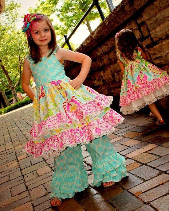 Girls Tripple Ruffle Pants Boutique Pants by rosieposiegifts