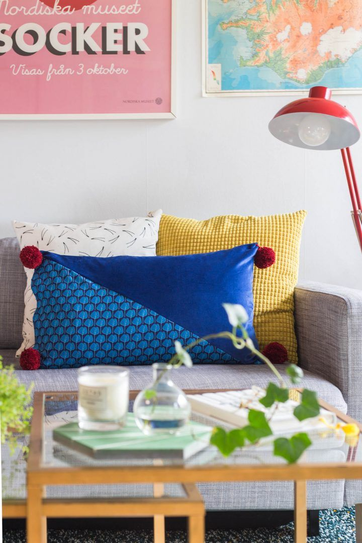 DIY Velvet and pom pom pillow by Dnilva