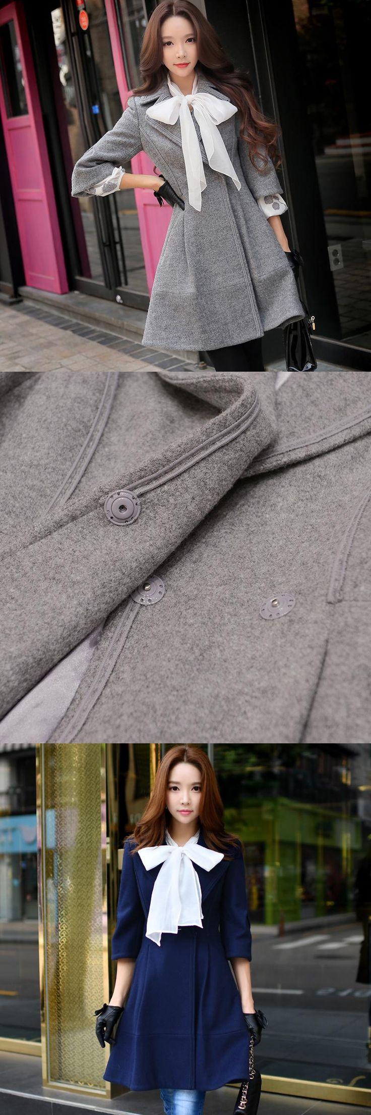 Original 2016 Brand Manteau Femme Autumn Winter  Slim Waist Elegant Casual Long Solid Woolen Coat Women