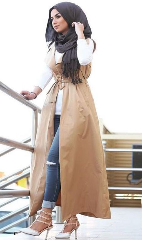 long beige vest hijab outfit