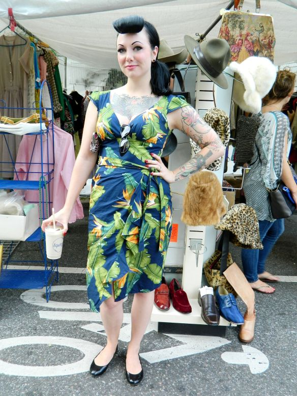 If I ever find fabric like this I'll be making this dress.  I just love it.  In fact, I love this girl's whole look.