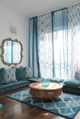 Turkey themed décor. The low seating and teal pillows work well when you have a lot of people coming over. There's more space to sit and it looks so pretty!