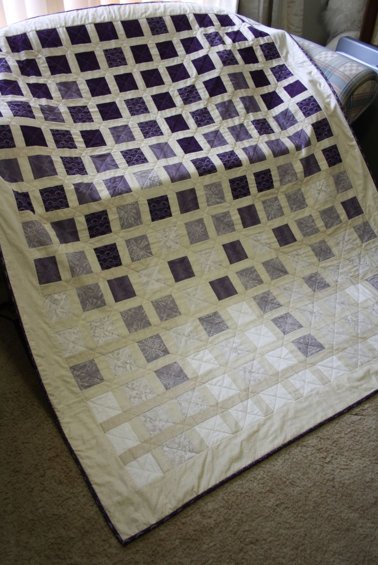 Purple Rain quilt by 3and3quarters, based on the free Jungle Rain pattern by Karen Montgmery for Timeless Treasures