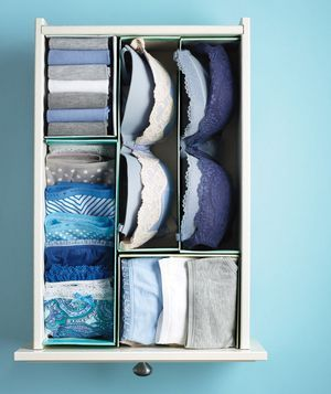 DIY: Cut shoe boxes in half, along the length or width, fill the compartments with folded briefs, socks, bras, etc.