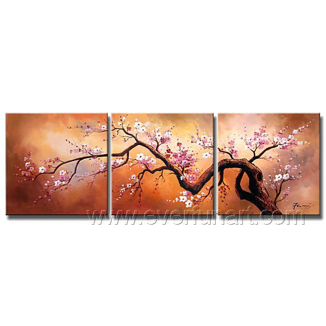 Framed ! Free Shipping ! Hand-painted Group Wall Decor Modern Asian Art Cherry Blossom Flower Oil Painting On Canvas