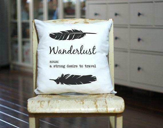 Wanderlust Custom Pillow - Travel Pillow - Personalized Pillow - Traveler Gift - Camp Pillow - Custom Pillow