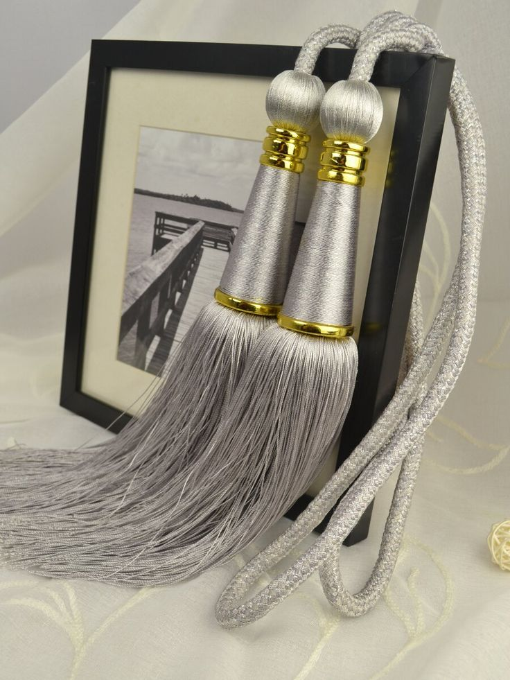 5 Colors QYM27 Polyester Curtain Tassel Tie Backs in Gray Color