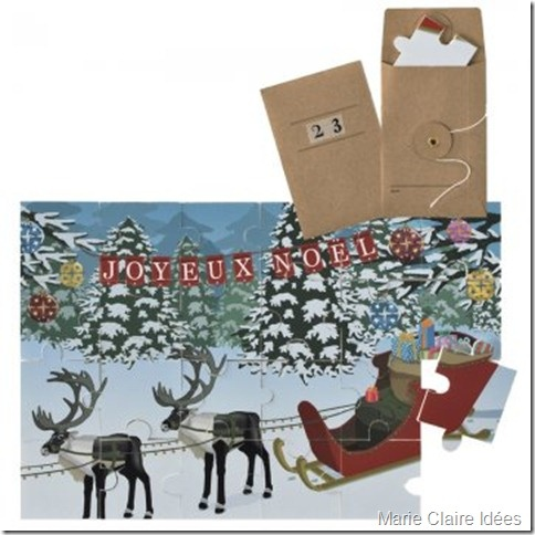 A puzzle advent calendar. A piece comes in an envelope for each day and you put it together, You can download this one.