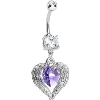 Handcrafted CZ Violaceous Winged Heart Dangle Belly Ring | Body Candy Body Jewelry #bodycandy
