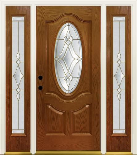 Wood entry doors with sidelights of oval glass front entry door with - Mastercraft Luminance 36 Quot X 80 Quot Text Fiberglass Door W
