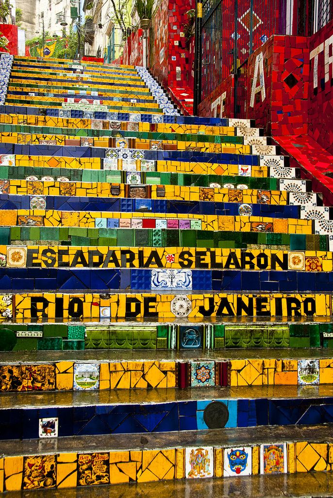 """The amazing piece of art """"Escadaria Selaron"""" staircase is the world-famous steps in Rio de Janeiro, done by Chilean-born artist Jorge Selarón."""
