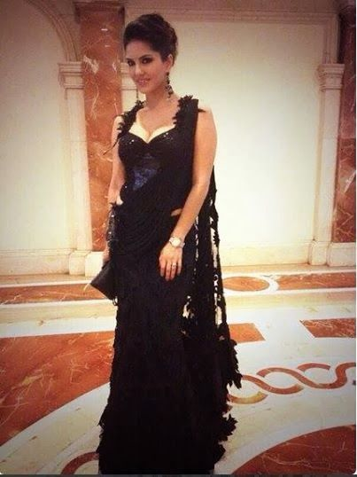 Sunny Leone Looks Very pretty in black gown that was designed by Rohit Verma.