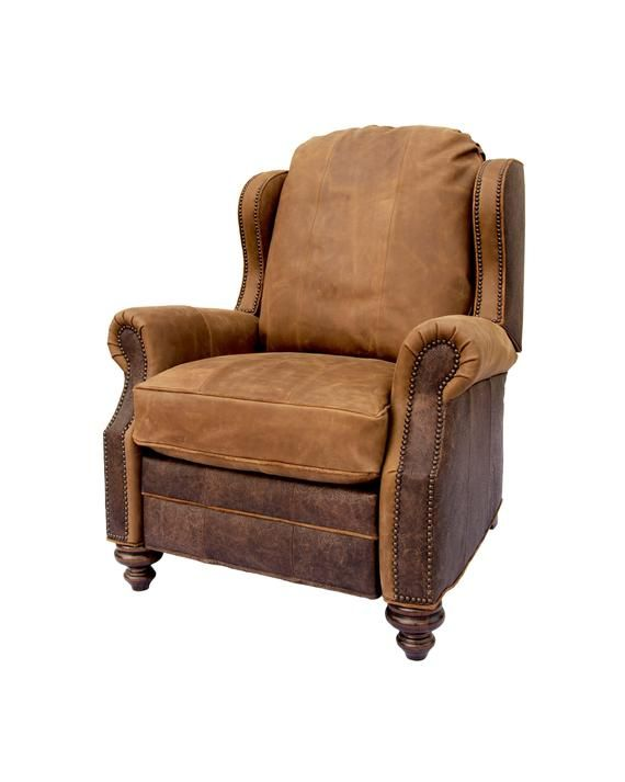 Cowboy Oregon Trail Recliner Rustic Western Style Leather
