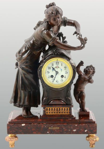 spelter women Spelter figure by louis moreau antiques  spelter clock on white marble base  late 19th c statuette of a young woman and child in spelter entitled jeune.