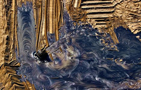 "The Athabasca Oil Sands, Alberta, Canada.""These oil deposits make up the largest reservoir of crude bitumen in the world, and as recently as 2006, produced over 1 million barrels of crude oil per day."""