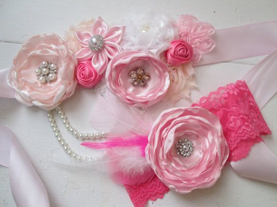 Pink & White Bridal Sash with Baby Headband by NakedOrchidGarters