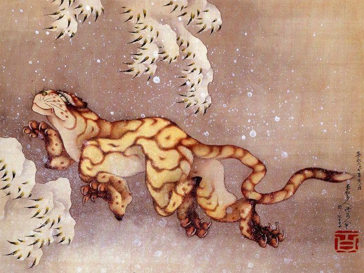 Hokusai, Tigre nella neve.   Adoro Hokusai e, in modo particolare, i suoi dipinti di animali.