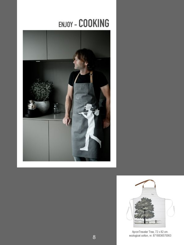 Ecological cotton kitchen textile. Graphic design with dark grey and white. Made of a ferm quality and for man and woman.   www.kiem-wayoflife.com