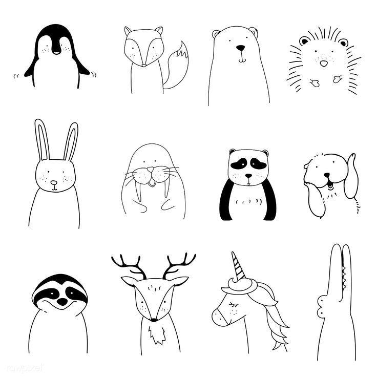 Download Premium-Vektor von Hand gezeichneten Tiere genießen einen Weihnachtsfeiertag – #An …   – kurze