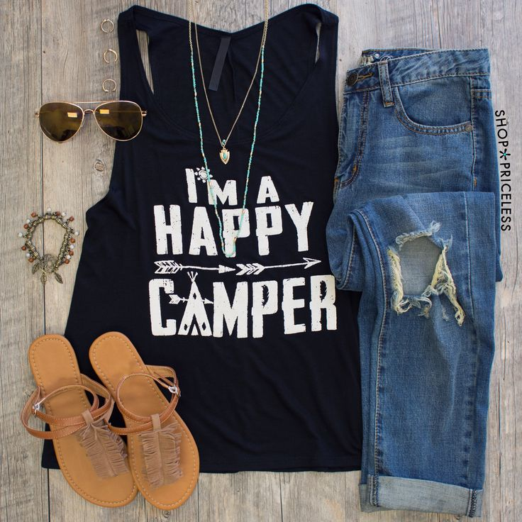 - Details - Size Guide - Model Stats - Contact Show us your wild side ladies! Our I'm A Happy Camper Top features a lightweight fabric with a loose-fitted tank styling, low-dipping arm holes, scoop ne
