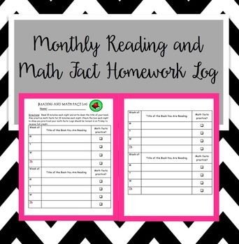 Monthly Reading and Math Fact Homework Log (Editable), reading log,  math facts, timed tests, homework, elementary, readers workshop, nightly reading, lifelong readers