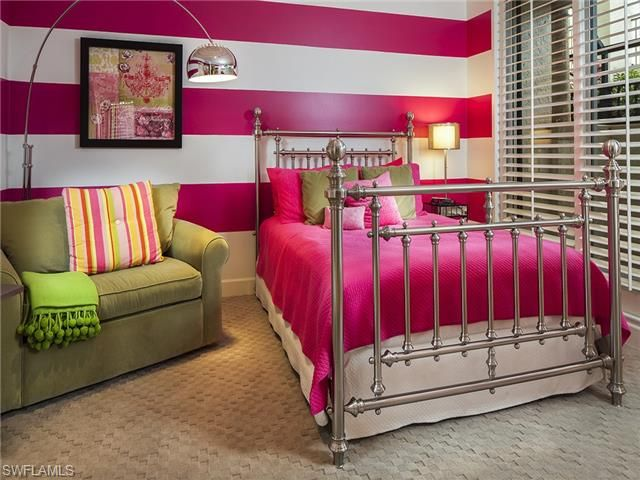 Contemporary kids girls bedroom guest room - hot pink striped walls   Mansion la Palma in Bay Colony   Naples, Florida