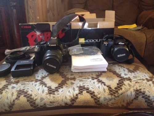 Canon EOS Rebel XSi And Nikon P90 Lot!!!! Please share this!! Tryin to sell these so I can buy my new camera to start my YouTube videos!