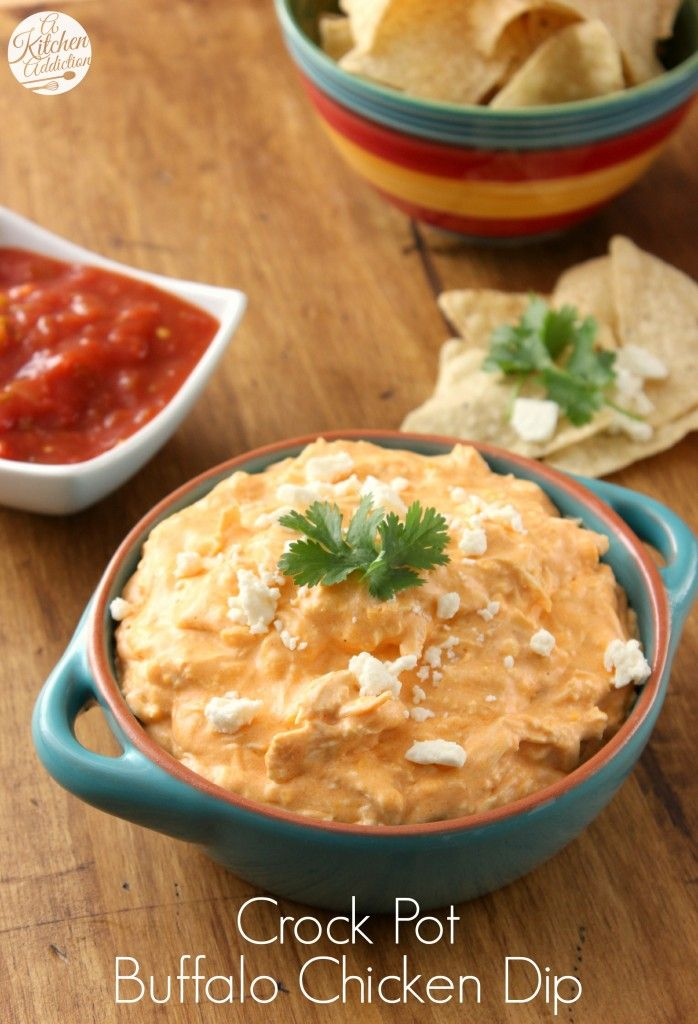 Crock Pot Buffalo Chicken Dip Recipe l www.a-kitchen-addiction.com