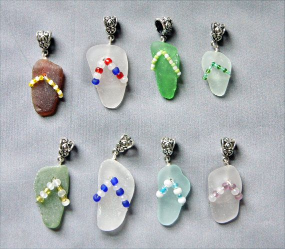 Sea Glass Pendants or Charms Sea Glass Flip Flop by oceansbounty, $12.00