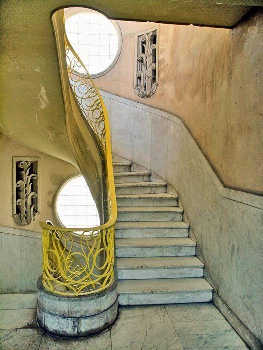 Cuban Art Deco: stairway in Havana, Cuba.