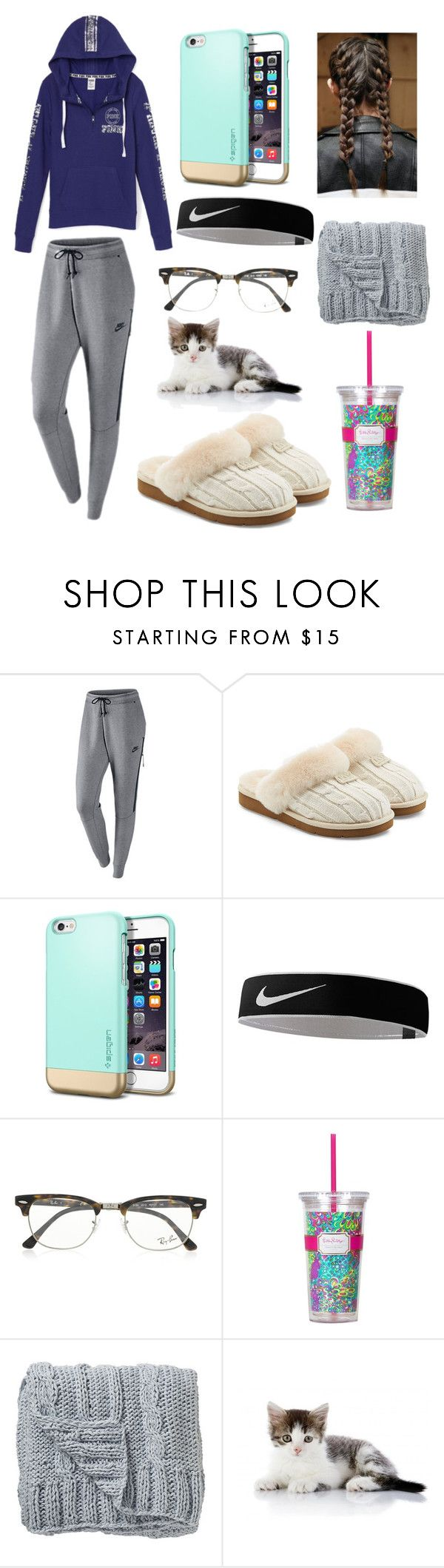 """""""Lazy Day"""" by idekwhattonamethis ❤ liked on Polyvore featuring NIKE, Victoria's Secret, UGG Australia, Ray-Ban, Lilly Pulitzer and Bloomingville"""