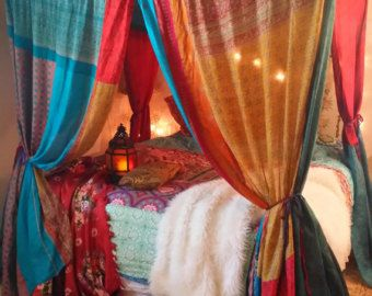batik Bed Canopy boho BALI HI Made To Order Gypsy Hippie Hippy HippieWild India Sari Scarves Bedroom Decor Bohemian Chic