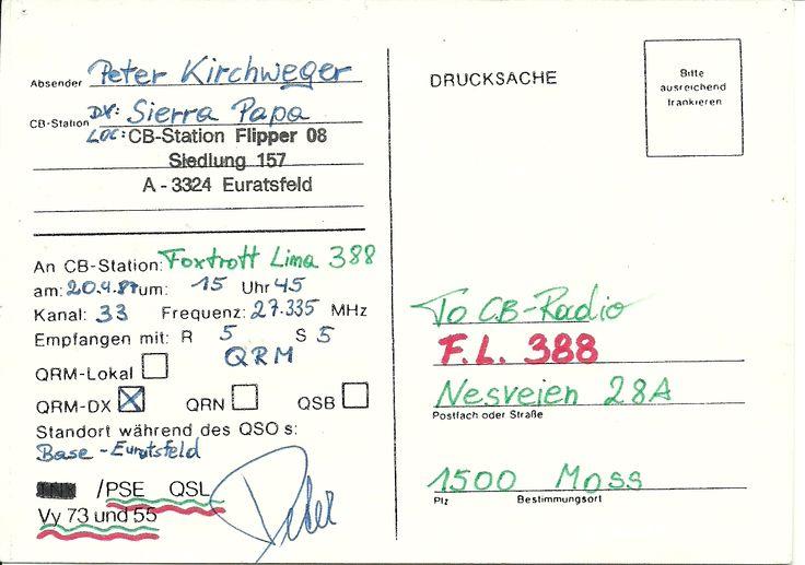 Austria firs QSL  FM  5/5 20-04-1987  CB-start  as my first CB-club  Foxtrot Lima