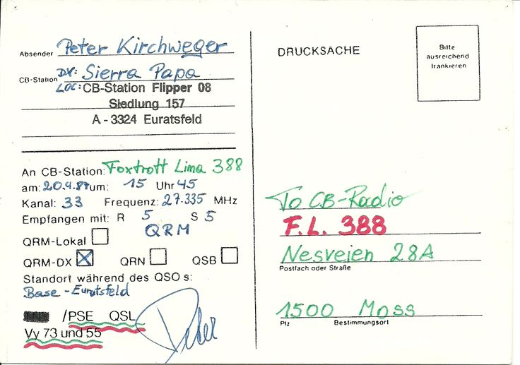 Austria firs QSL  FM  5/5 20-04-1987  CB-start  as my first CB-club  Foxtrot Lima