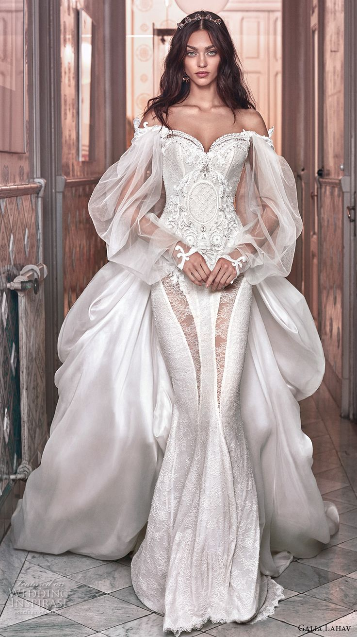 galia lahav spring 2018 bridal long bishop sleeves off the shoulder sweetheart neckline heavily embellished bodice vintage fit and flare wedding dress a  line overskirt chapel train (thelma) mv -- Galia Lahav Spring 2018 Wedding Dresses