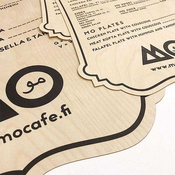 Restaurants menus printed on thin plywood by Laser Cut Studio.