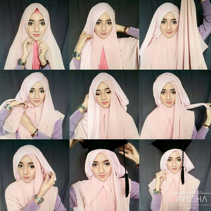 Tutorial Hijab Wisuda Syar'i by https://www.instagram.com/indahnurj/