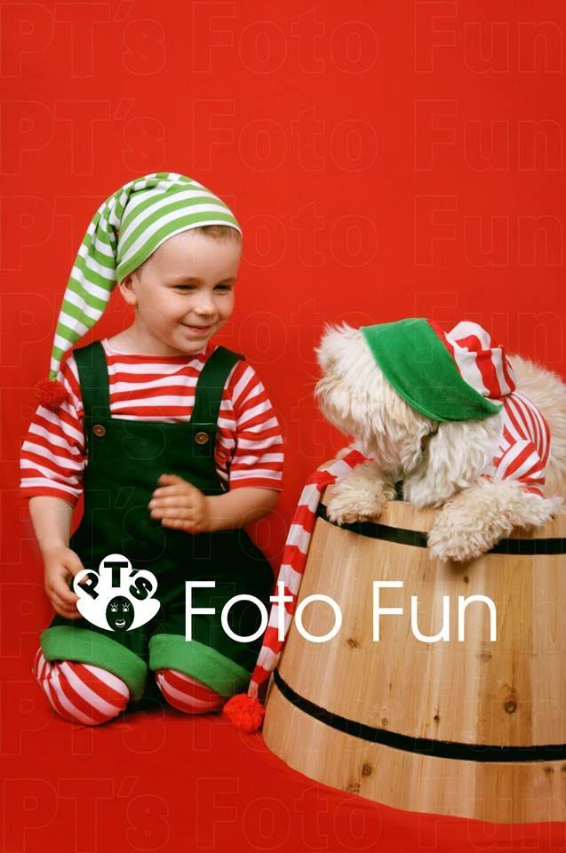 Christmas Fun- lf boy with elf dog