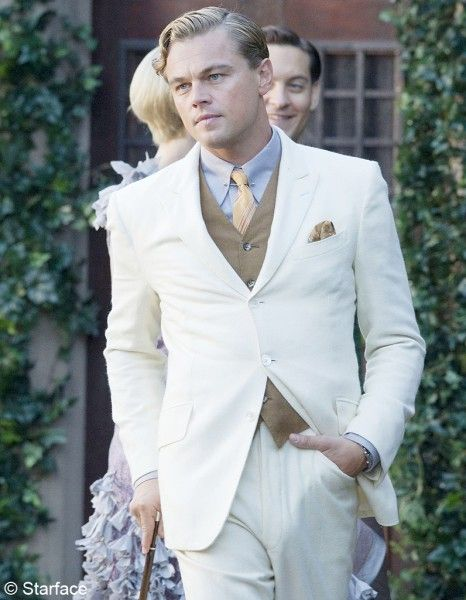 Leonardo DiCaprio in Great Gatsby. I like the gentleness of his appearance and clothing, caused by the soft, almost bleached colours.