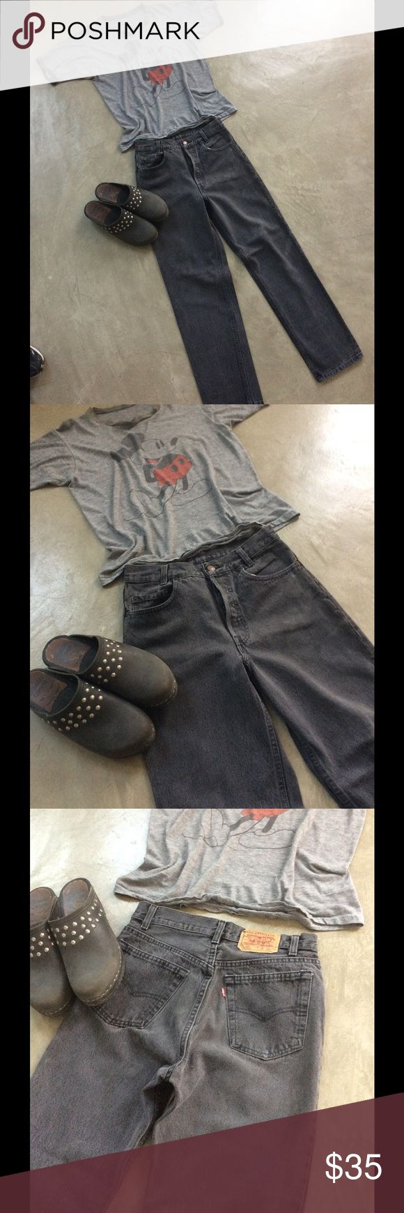 """Vintage button fly Levi jeans. SALE From the 80's-90's these are original high waisted Levis. Nice faded black, small fade patch on front as shown, no holes or damage .Waist measures 27"""" and length 28"""". A cool classic Vintage Levis Jeans Straight Leg"""