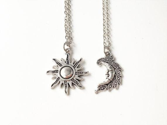 Silver Sun and Moon Necklaces, Sun Jewellery, Moon Jewellery, Two Necklaces, Simple Necklaces, Unisex Jewelry, Friendship Gifts, Pagan,Boho