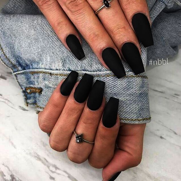 JINDIN Black Matte French Fake Nails Pre Design Long Fake Nail Full Cover for Women Salon Home Manicure Art 24 pcs/set