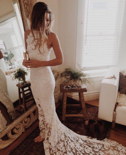 2017 Custom Made White Lace Wedding Dress,Halter Bridal Dress,Mermaid Bridal Dress,Sleeveless Wedding Dress