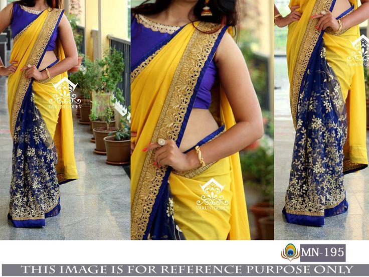 Price @1950.00 INR  Colour : Yellow & Blue        Fabric : Saree Georgette & Naylon Mono Net Blouse Bangalori Silk With Inner Satin Silk      Work : Fancy Thread Work
