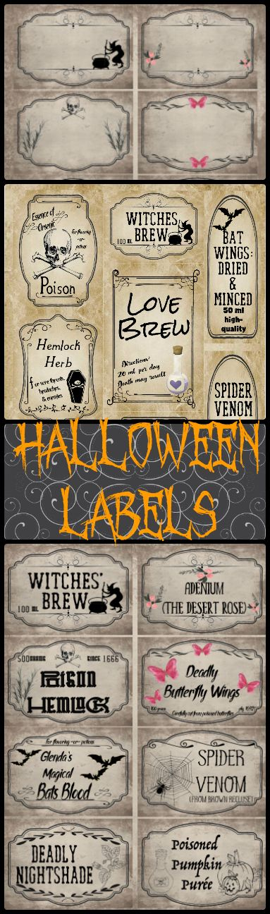 Free Printable Halloween Apothecary Labels: 16 designs! Plus designed blanks for any Halloween need. Inclues links to more free Halloween printables.