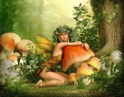 Hada del bosque rodeada de hongos gigantes - Imágenes de fantasía | Banco de…